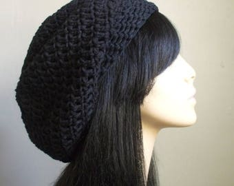 COTTON Cute Crochet Hat // Hot Women FASHION // Crochet Slouchy Beret // Tam Hat // Black Super Cute Unisex Hat // aWeSomE Style