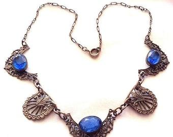 CIJ SALE Christmas JULY Beautiful Art Deco Saphire Blue Open Back Czech Glass Vintage Necklace