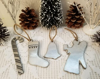Set of 4 Vintage Wilton-Columbia Pewter Christmas Ornaments: Candy Cane, Stocking, Bell, Angel, '74-75. Rustic Distressed Primitive Folk Art
