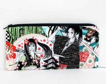 Long Zipper Pencil Pouch, Anime Girls, Japanese Tokidoki Geisha