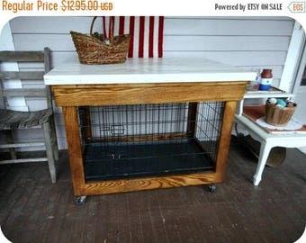 SALE Solid White Oak Hidden Dog Crate Concealer Cabinet Kitchen Island  W/Casters Fits Med