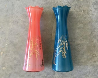 set of vintage asian theme glass vases - 1211440