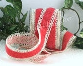 """Salmon/Coral Velvet & Crochet Lace Ribbon, 1.5"""" wide by the yard, Weddings, Gift Wrapping, Velvet Chokers, Invitations, Party Supplies"""