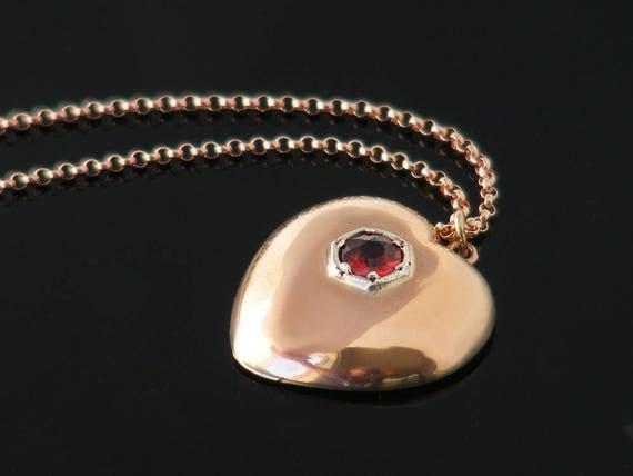 Edwardian 9ct Rose Gold & Garnet Heart Pendant | Antique Heart Pendant | 9 Carat Gold, Bohemian Garnet, Puffy Heart Necklace - 22 Inch Chain