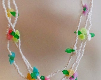 SALE Vintage Three Strand Glass Bead and Pastel Flower Necklace.  Pink Turquoise Purple Yellow Flower Necklace with White Glass Beads.