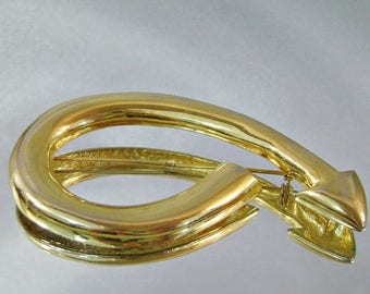SALE Vintage Brooch Arrow, Gold, Large
