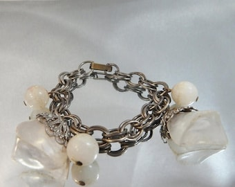 SALE Vintage Charm Bracelet.  Chunky White Frosted Beads. Double Link.
