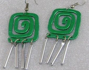 SALE Vintage Green Asian Windchime Earrings.  Dangling Windchime Asian Green Swirl Earrings
