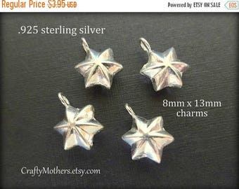 7% off SHOP SALE TWO Bali Sterling Silver Star Charms, 13 x 8mm, artisan-made supply, solid .925 sterling, earrings, necklace