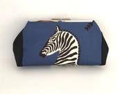 RESERVED FOR CHERYL Scalamandre zebra clutch, animal print clutch, blue clutch, blue handbag, evening bag, clutch with black, one of a kind