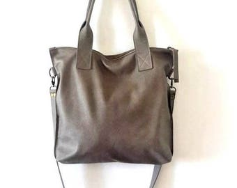 OnSALE GRAY leather tote - Handbag - Cross-body bag - Every day bag - Women bag - Shoulder leather bag