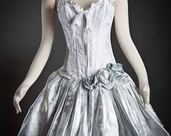 Size Small White and Silver brocade burlesque corset prom dress with sparkle tulle Tea length Ready to Ship