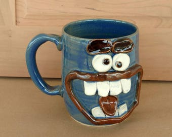 Huge Beer Stein. Large Pottery Tankard for Him. Fun Unique Coffee Cups. Blue. Mischievous Jokester Face Mug. Big Coffee Mug. Microwave Safe.