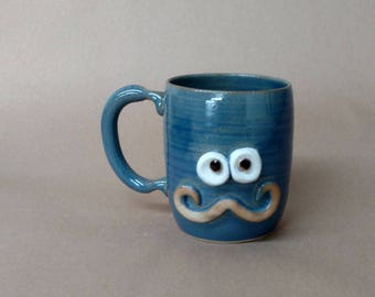 Cups and Mugs Sophisticated Mans Handlebar Mustache Mugs. Ironic. Blue. Mustache Love Mug. Fun Funky Pottery Coffee Cups.