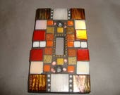 MOSAIC Light Switch Plate -  Single Switch, Wall Plate, Wall Art, Brown, Red, Off White, Iridescent