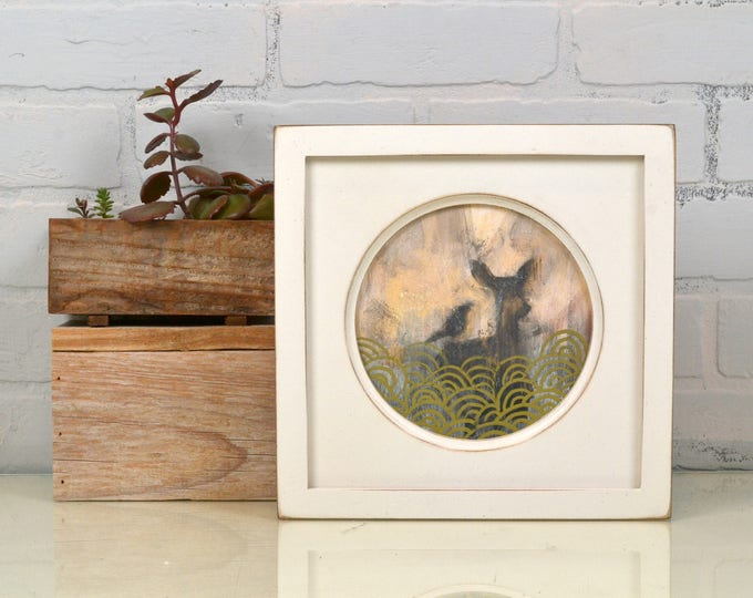 6x6 inch Circle Opening Photo Picture Frame with Deep Flat Build up with Vintage White Finish - IN STOCK - Same Day Shipping 6 x 6