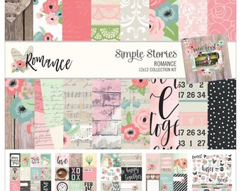 "Romance Simple Stories Collection Kit 12""X12"" (9400) 12x12 Paper"
