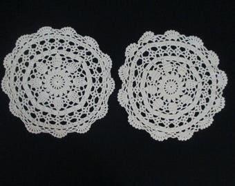 2 Vintage Hand Crochet Doilies Doily Doiley Doilie