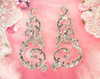 "Sequin Appliques Silver Sparkling Bling Mirror Pair w/ Beads Dance Costume Motif Patch Sewing or Crafts DIY 6.75"" (0514X-sl)"