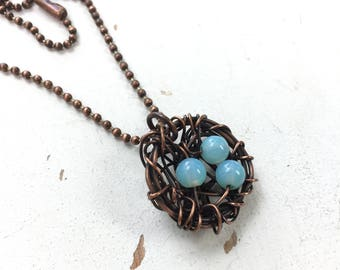 Nesting - Necklace in Copper & Glass