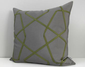 Grey & Olive Green Outdoor Pillow Cover, Geometric Pillow Cover, Decorative Pillow Cover, Lattice Sunbrella Cushion Cover, Mazizmuse Trellis