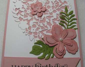 Stampin' Up! HAPPY BIRTHDAY Thanks Congrats Think Heart Flowers Card Kit - 2 Cards