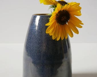 Handmade Pottery Vase; Ceramic Vase, Blue Pottery; Gold