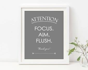 Boys Bathroom Sign, Focus Aim Flush, Toilet Sign, Bathroom Sign for Man, Grey Bathroom Decor, Funny Bathroom Sign, Water Closet Art