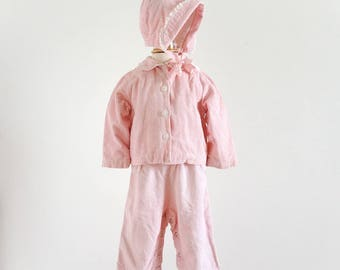 "Vintage 1950s 60s Girls Size 9-12M Clothing Set Jacket Suspender Pants Separate Hood, Pink White Checked Soft Corduroy, b24"" inseam 8.5"""
