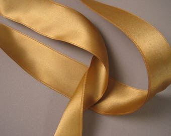 Vintage 60s gold metallic ribbon double sided satin rayon 1.5 inch wide