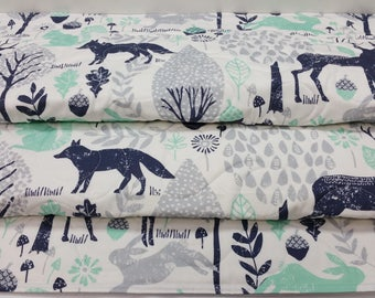 Baby Quilt-Baby Quilts-Woodland Baby Bedding-Gray-Mint-Navy Blue Nursery-Baby Shower Baby Blanket-Deer-Fox-Bunny Rabbit Baby Blanket