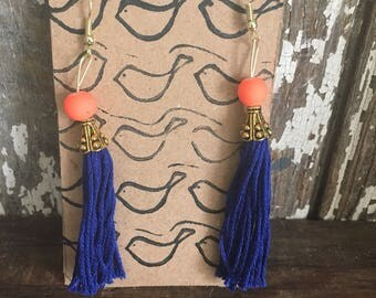 Tassel earrings, cobalt blue, orange bead, goldPerfect for summer