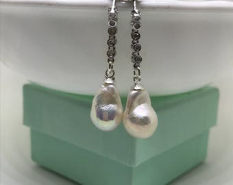 Baroque Pearl Silver Drop Earrings with CZ Stones; Small Baroque Earrings; Baroque Dangling earrings; Baroque Pearl Earrings