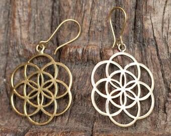 Dangling Seed of Life Brass Earrings, Sacred geometry jewelry, Ethnic jewelry, Brass earrings, Seed of Life, Tribu