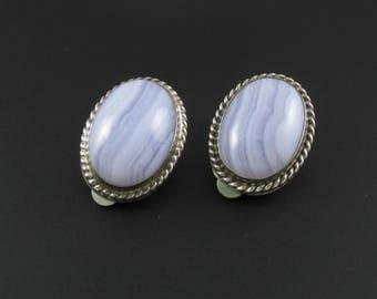 Desert Rose Trading Sterling Silver Banded Agate Earrings, Blue Agate Earrings, Sterling Silver Earrings, Blue Stone Earrings