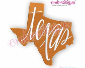 Texas state shape with hand lettering, fill stitch  -  Digital Machine Embroidery File -Instant Download