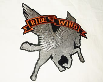 RIDE WITH The WIND Pegasus Biker Patch • extra large