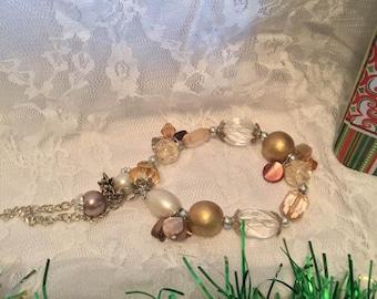 Golden Beaded Charm Bracelet