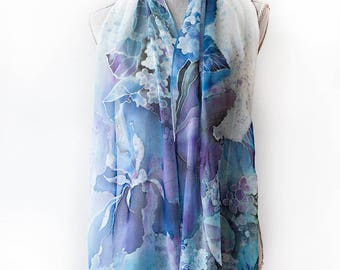 Silk Scarf Hand Painted Scarf Hydrangea And Irises  Ready to Ship