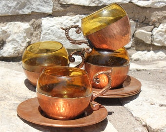Set of 4 Marked Vintage Hammered Copper and Glass Mugs w/ Matching Copper Saucers