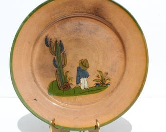 Vintage 1940's Tlaquepaque Mexico Mexican Folk Art Pottery Plate w/ Hand Painted Design