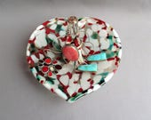 Hand Blown Art Glass Jewelry Dish and Holder, Heart Shaped.