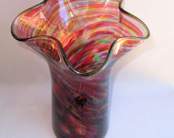 Hand Blown Glass  Red Multicolored Wave Top Vase