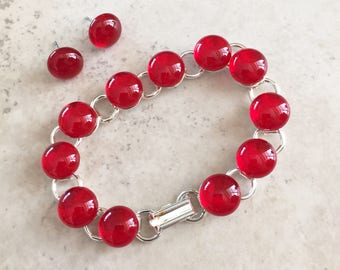 Fused Glass Link  Bracelet and Post Earring Jewelry Set  - Glowing Translucent Red Fused Glass Jewelry Gift for Her – 67-17