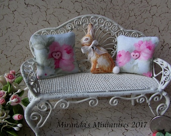 Dollhouse Miniature Bunny Rabbit pillow set pink and blue rose cottage chic