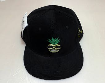 Buckle-back Flat-Brim Hat - Pineapple Skull (One-of-a-kind)