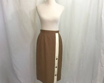 Vintage 80s Brown Linen Secretary Midi Skirt M