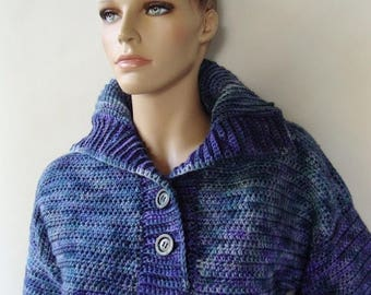 ON SALE Crochet Sweaters Women, Blue Sweaters, Merino Wool Sweater, Sweaters for Women, Crocheted Sweaters, Optional Funnel Neck, Available
