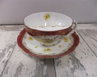 Vintage Mustache Tea Cup and Saucer Burgundy and White with Yellow Daisies Flowers Philip Rosenthal Bavaria Daisy Floral