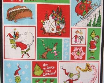 "How the Grinch Stole Christmas X-Mas 7 Dr Seuss Cotton Fabric 24"" Panel"